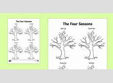 Four Seasons Tree Drawing Template seasons, trees, plants