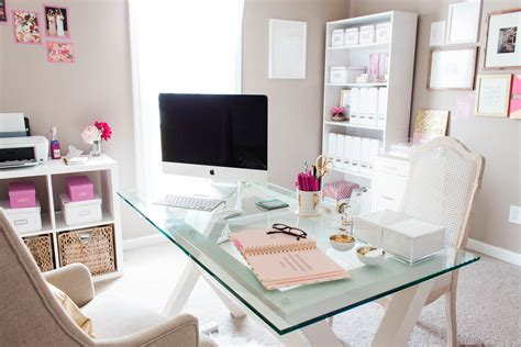 Bonnie Bakhtiari's Pink And Chic Home Office {office Tour Decorations For Living Room Ideas Printed Chairs 2018 Modern Light Grey Carpet Mirrored Furniture Keyboard And Mouse Whitewash Library