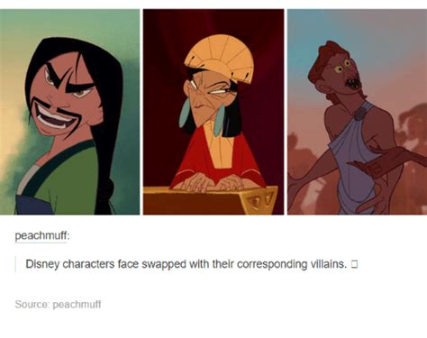 Funny Character Memes - peachmuff disney characters face swapped with their corresponding villains source peachmuff