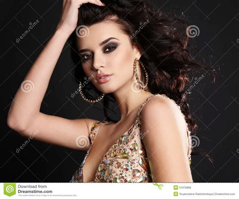 Fashion Photo Of Beautiful Sensual Woman With Long Dark
