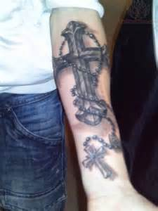 Cross with Rosary Tattoos On Arm