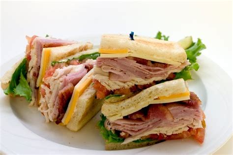 I had a mixture pack of deli meat so i used ham and turkey great little, easy recipe. Club Cal Sandwich - Turkey, Ham, Bacon, Swiss Cheese, Mayo, Tomato, Lettuce on Toasted Sliced ...