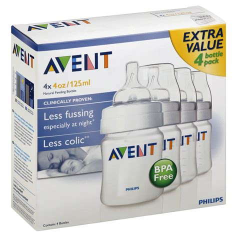 Philips Avent 4 Pack Baby Bottles 4 Ounces