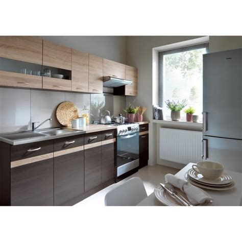 meuble cuisine wengé junona cuisine complète 2m40 avec éclairage led décor