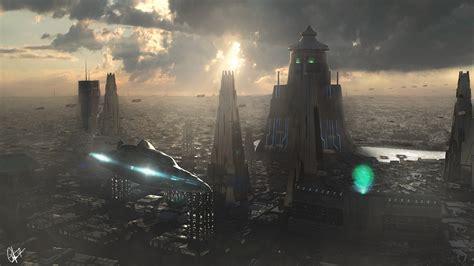 landscapes science fiction cities futuristic city
