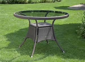 Glastisch Rund 100 Cm : garten rattan rattantisch glas tisch gartentisch glastisch 100 cm braun neu ebay ~ Whattoseeinmadrid.com Haus und Dekorationen