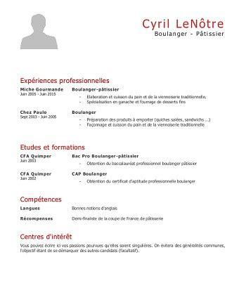 Exemple De Cv De Travail by Modele De Cv Pour Un Apprentissage
