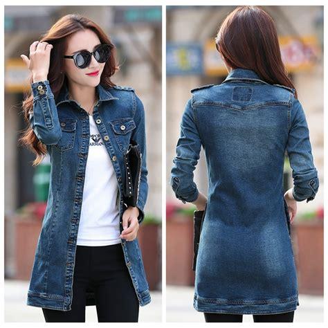 fashion women denim jackets  casual long slim jean