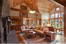 Rustic Cabin Living Room Ideas by Cozy Cabin Retreat Combines Warmth Of Wood With A Bright Open Interior
