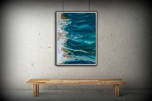 abstract art blue wall art coastal landscape giclee large With blue wall decor