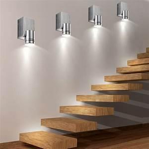 Treppenhaus Beleuchtung Wand : 6er set led wand spot leuchten wohn ess zimmer beleuchtung treppenhaus alu strahler geb rstet ~ Eleganceandgraceweddings.com Haus und Dekorationen