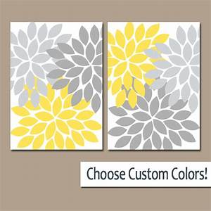 yellow and gray canvas wall art ulsga With what kind of paint to use on kitchen cabinets for flower on canvas wall art