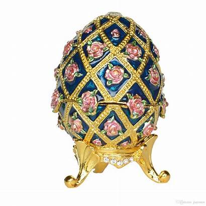 Egg Faberge Trinket Box Jewelry Painted Hand