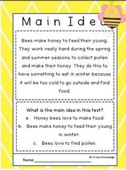 bees world finding  main idea activities