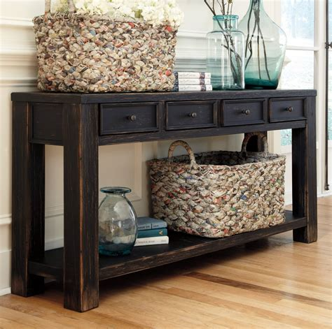 Entryway Console With Storage by Distressed Weathered Console Table Console Tables