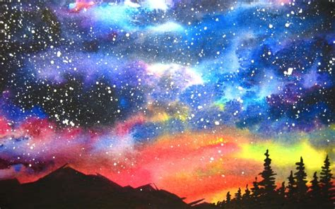Watercolor Starry Night Sky Speed Painting Art