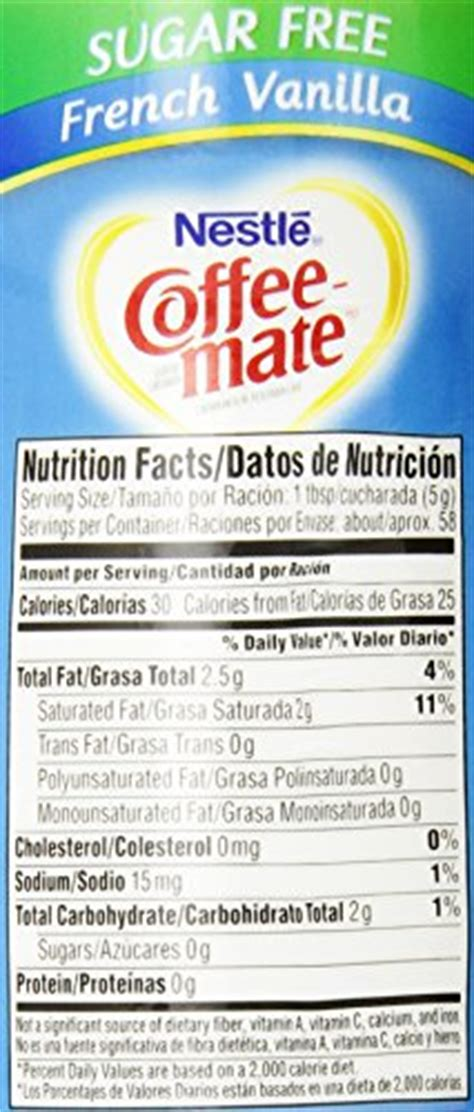 Target does not represent or warrant that the nutrition, ingredient, allergen and other product. Coffee Mate Sugar Free Hazelnut Creamer Nutrition Facts ...