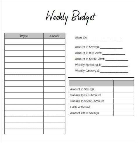 weekly budget planners word excel fomats