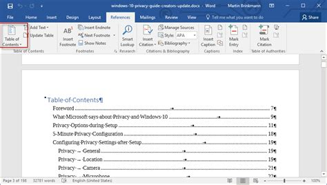 Word 2013 Table Of Contents Template by How To Add A Table Of Contents To A Word 2016 Document