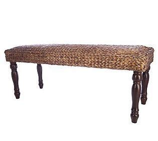 linda dano 48 inch seagrass bench with sculpted wooden