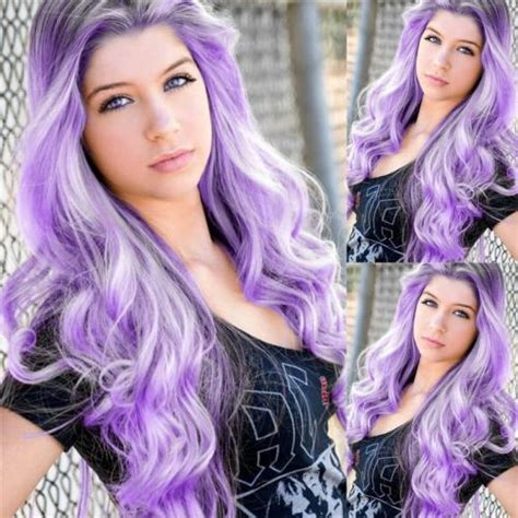 Ombre Purple 2 Tones Black Roots Synthetic Lace Front Wig