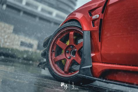 car mitsubishi lancer evo  tuning rain water drops