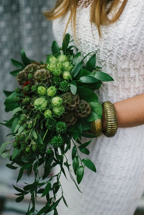 wedding bouquet greenery bouquets bridal unusual flowers emerald bohemian boho unique darling chic floral weddings greens dark milis melissa foliage