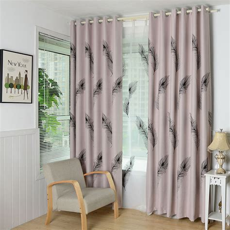 european feather style window curtain for living room