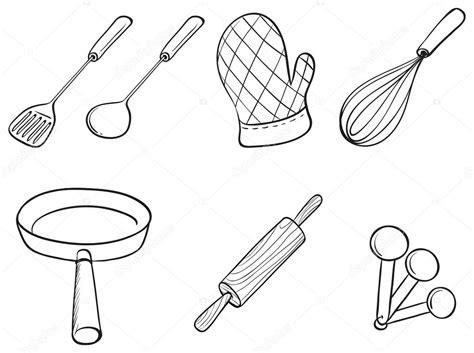 kitchen utensils drawing  getdrawingscom