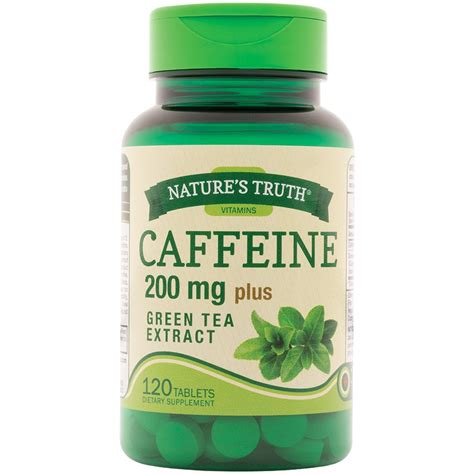 is green tea caffeinated nature s truth caffeine 200 mg plus green tea extract 120 tablets rite aid