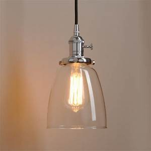 Clear glass pendant light dome shape loft