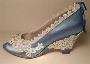 Blue Wedding Wedges, Lace Wedge, Bridal Peeptoe Wedge ...