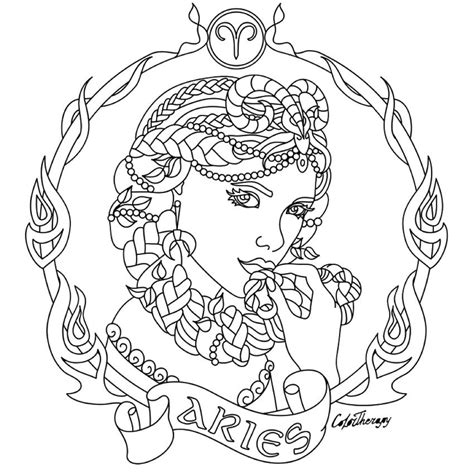 aries zodiac beauty colouring page adult colouring