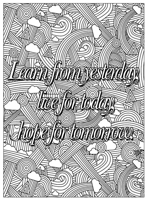 quote learn  yesterday quotes adult coloring pages
