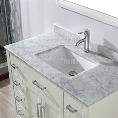 42 inch white vanity with marble top studio bathe 42 inch white finish bathroom vanity