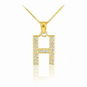 gold letter quothquot diamond initial pendant necklace With letter h gold necklace