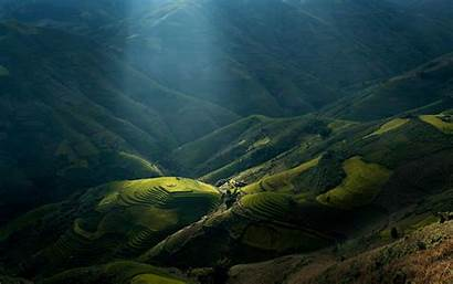Vietnam Rice Mountain Landscape Sun Nature Valley