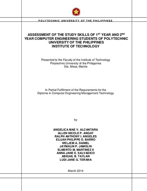 Template Tex Engineering Master Thesis by A Thesis Assessment Of The Levels Of Study Skills Of