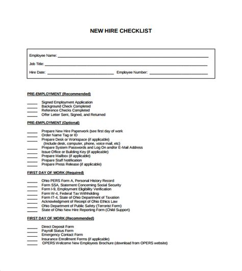 new hire checklist template sle new hire checklist template 11 documents in pdf