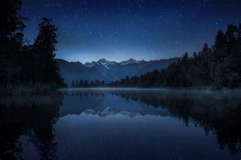 Night Lake Mountain Sky Star Reflection Haze Reeds Tree