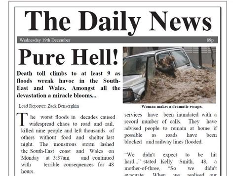 The most voted sentence example for newspaper is i got interviewed for a newspa. Flood Newspaper Report with comprehension KS2 | Teaching ...