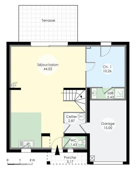 plan de maison avec cuisine ouverte le plan du rez de chaussée nous montre un immense salon avec sa cuisine ouverte une chambre