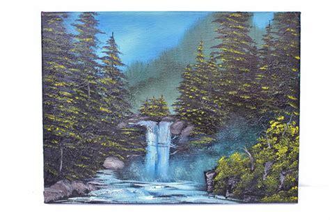 Bob Ross Style Waterfall Wilderness Alaska Evergreen Forest