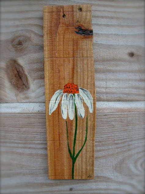 coneflower painted  recycled pallet wood