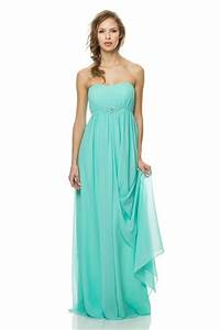 Cute Strapless Empire Waist Long Aqua Chiffon Occasion ...