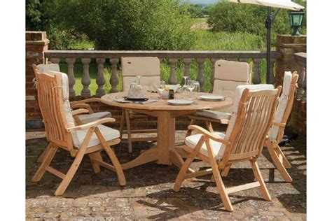 table de jardin ronde en bois d 145 cm et 175 cm haut de gamme la galerie du teck