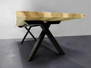 Table Bois Massif Metal : table viking live edge m tal et bois massif fabrication artisanale ~ Teatrodelosmanantiales.com Idées de Décoration