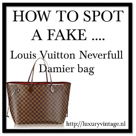 spot  fake louis vuitton neverfull damier bag