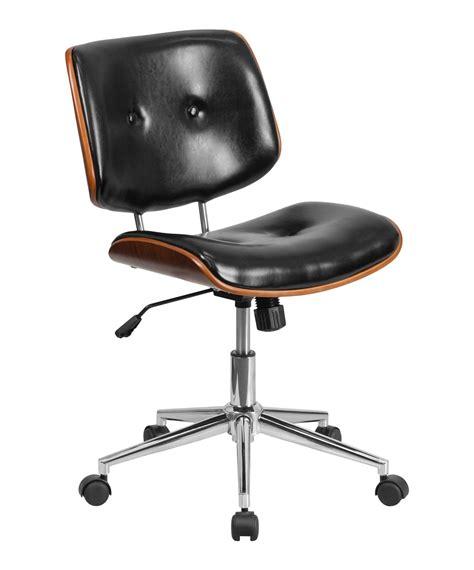 mid back leather ergonomic wood swivel task chair