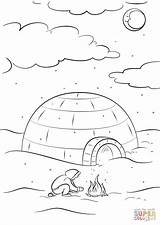 Coloring Inuit Igloo Sitting Printable Bonfire Eskimo Drawing Paper Dot Games sketch template